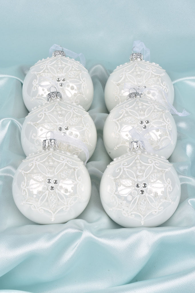 Ornate Winter White Flower European Glass Ornaments