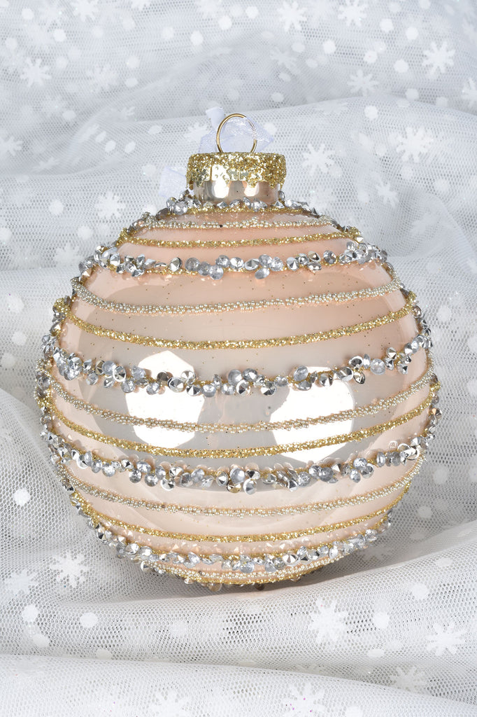 Pink and Pearl Sparkling Garlands Glass Ornaments