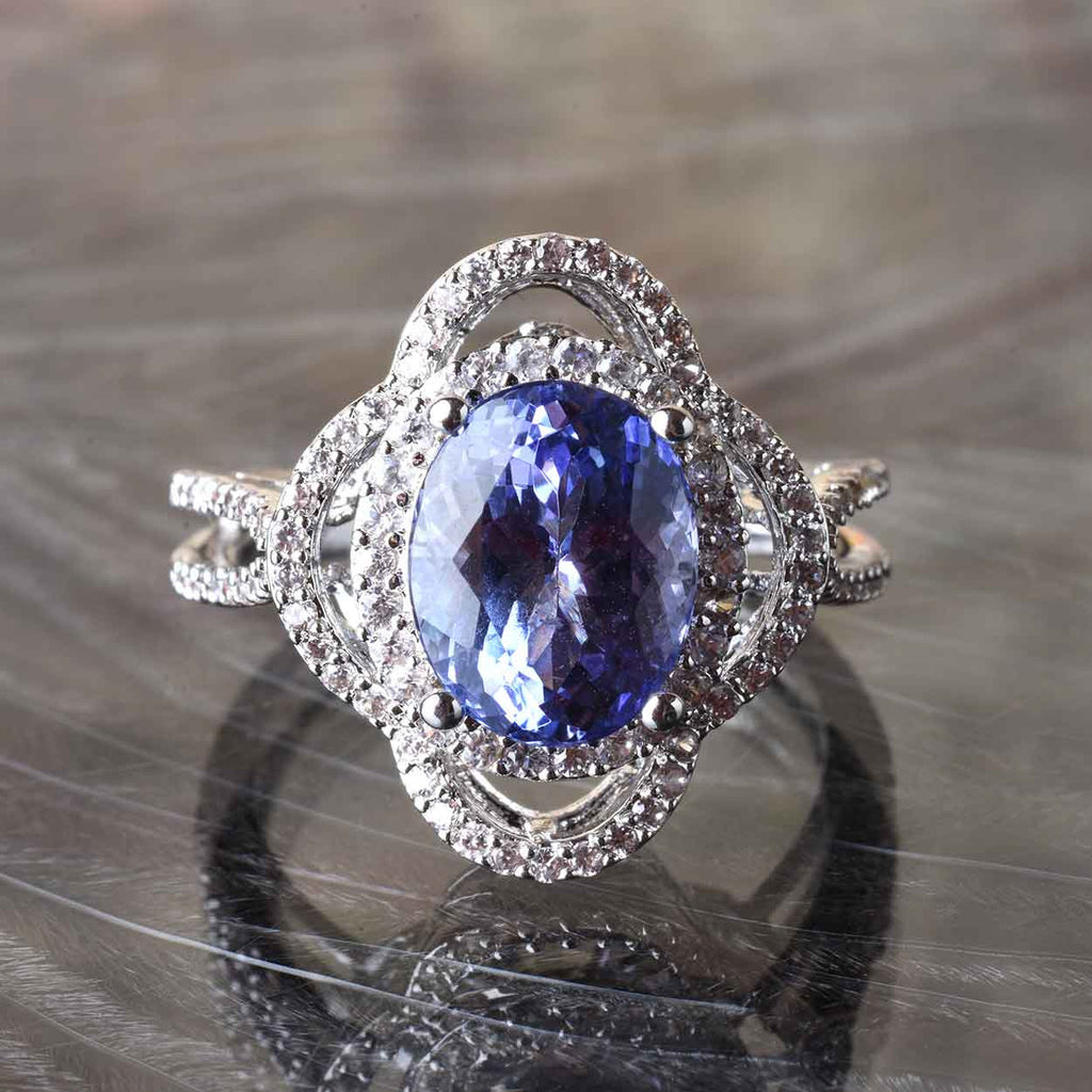 Tanzanite or Morganite and White Zircon Oval Ring