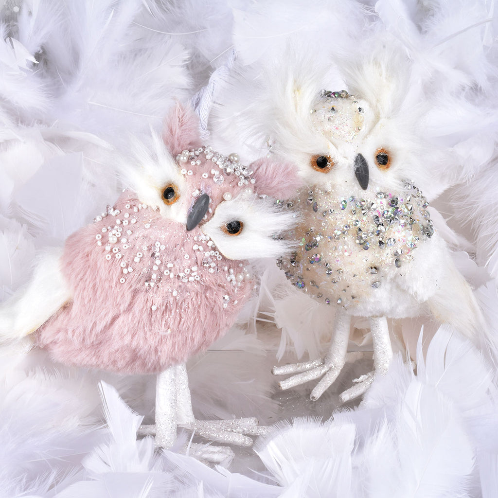 Set of 2 Sequined Owls