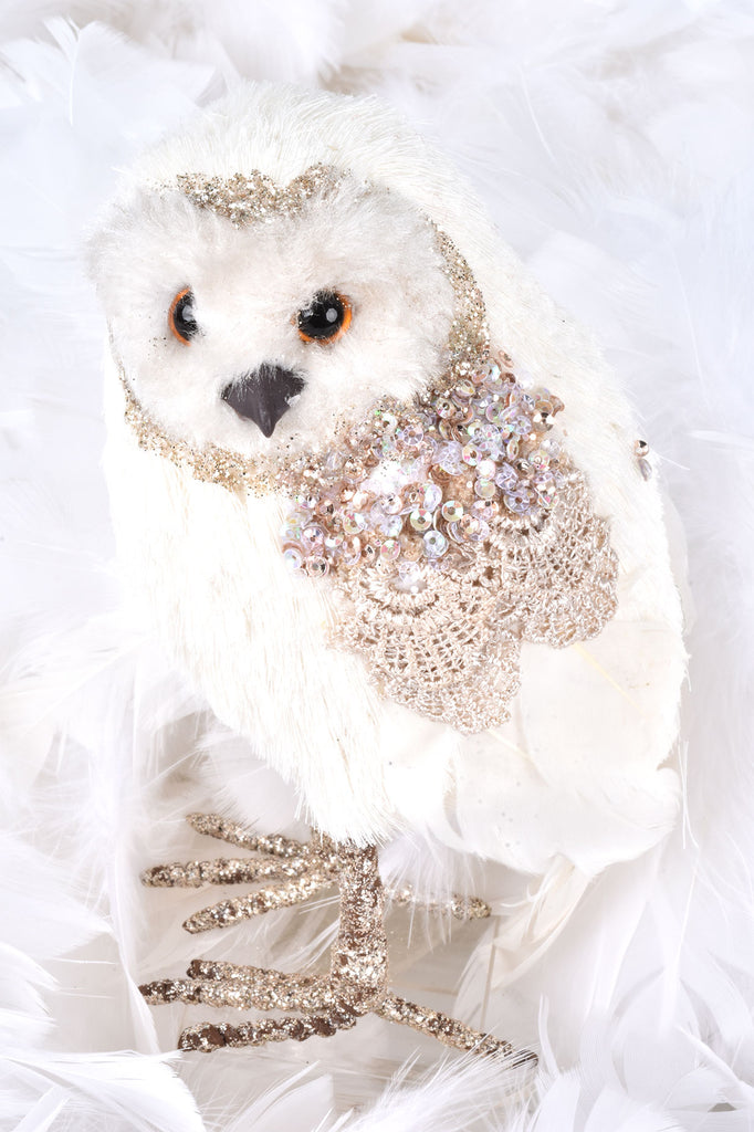 Elegant Owls with Beading and Lace