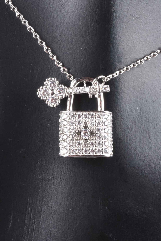Italian Sparkling Pave Padlock and Key Necklace