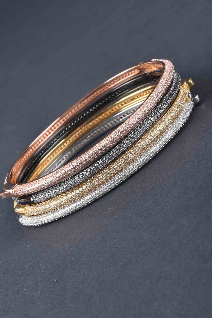 Couture Inspired Micro Pave Layering Bangle Bracelet
