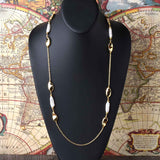 "36'' ""Liquid Pearl"" and Nugget Station Necklace"