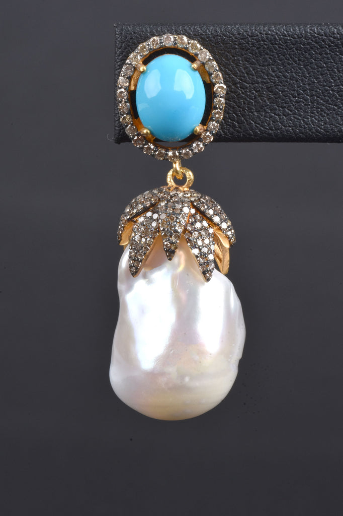 Baroque Pearl, Turquoise, and Diamond Drop Earrings
