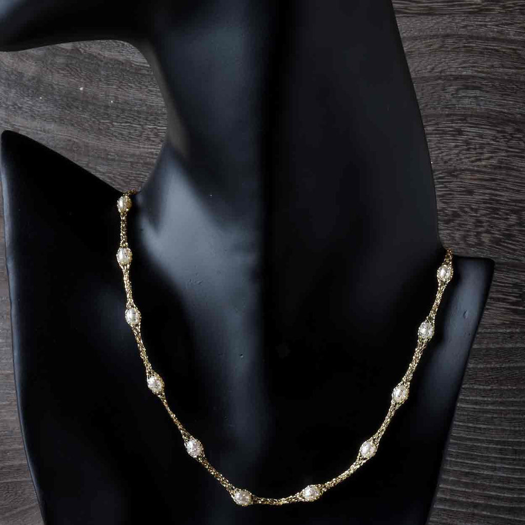 Pearls in a 14kt Gold Net Necklace