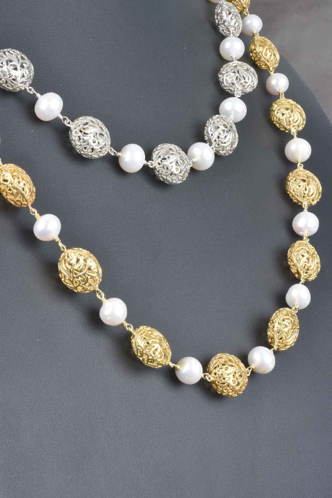 Handmade Freshwater Pearl and Filigree Bead Necklace