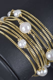 Italian 5 Row Pearl Station Bracelet with Magnetic Clasp