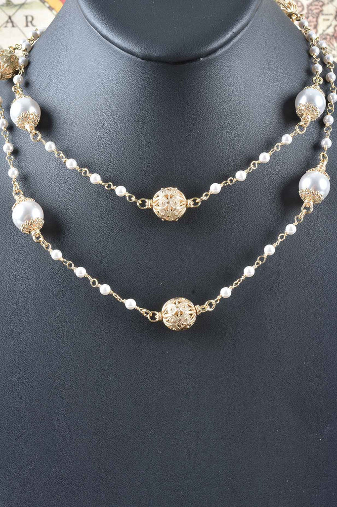 Florentine Handmade Pearl Station Necklace