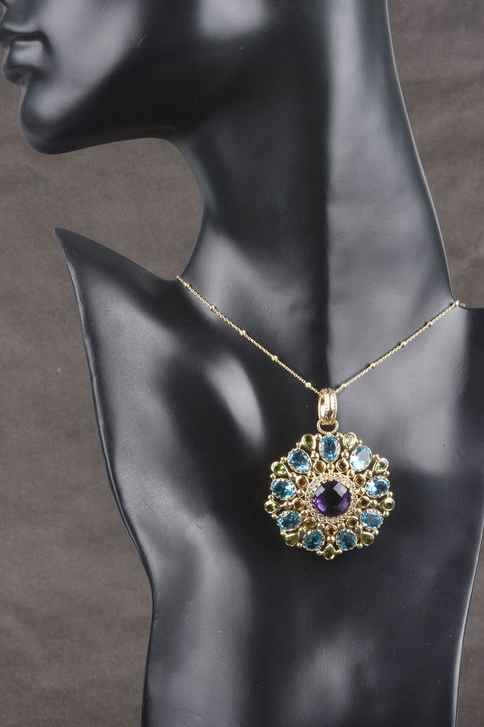 14K Gold Italian Multi-Gemstone Ornate Pendant
