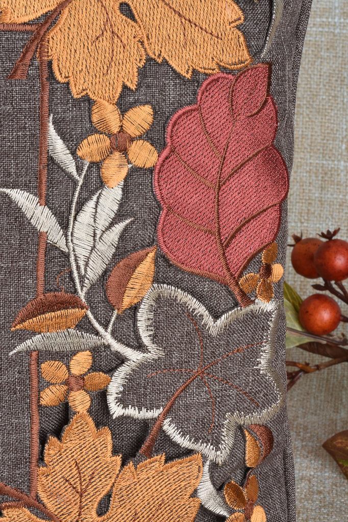 Embroidered Fall Leaves Pillow
