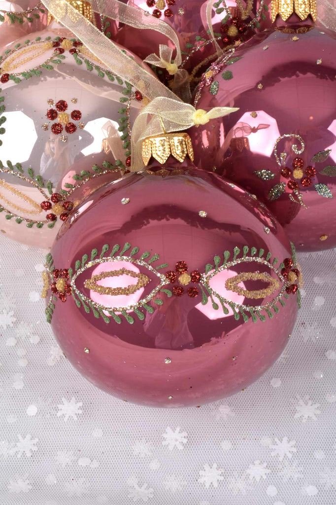 Delicate Pink Flowers European Glass Ornaments