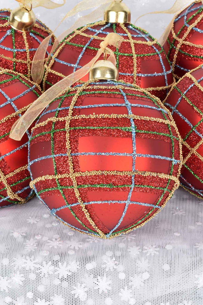 Red Plaid Glass Ornaments