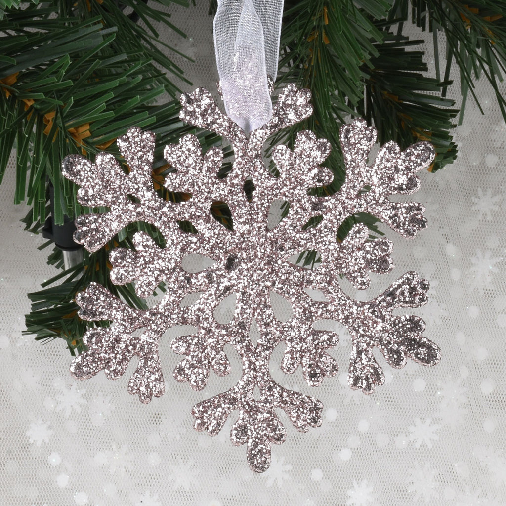 Set of 12 Dimensional Glitter Christmas Ornaments