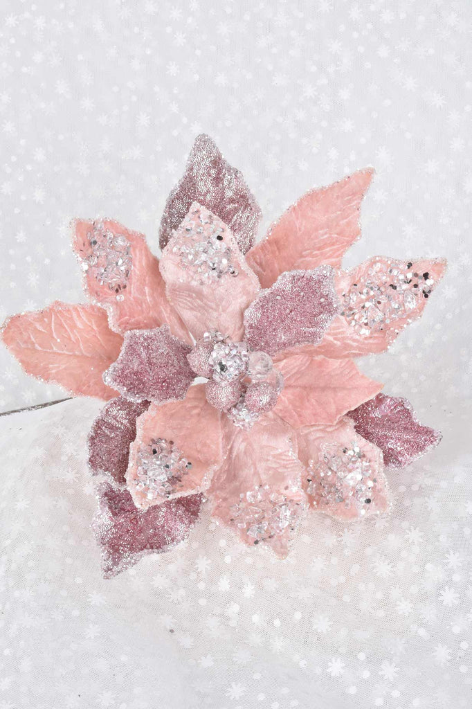 Luxury Pink Jeweled Poinsettias