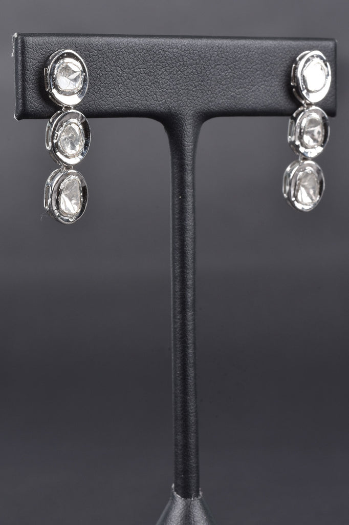 Maharaja Triple Polki Diamond Drop Earrings