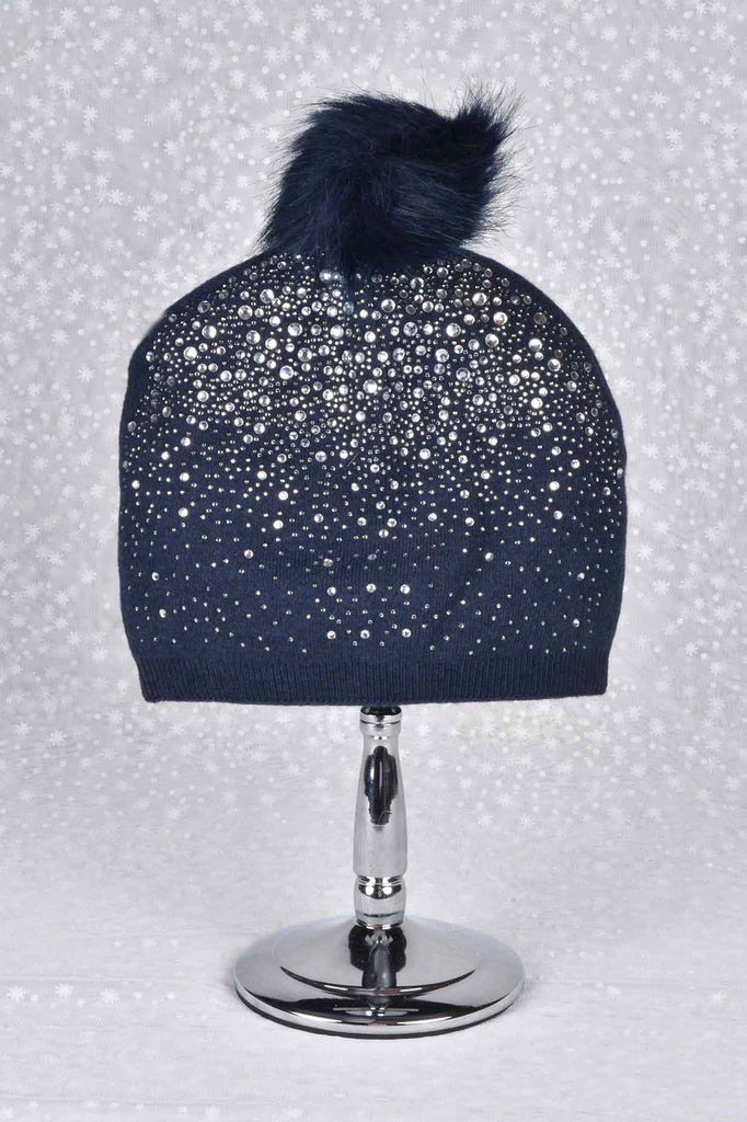Sparkling Crystals and Pom Pom Hat and Scarf Set