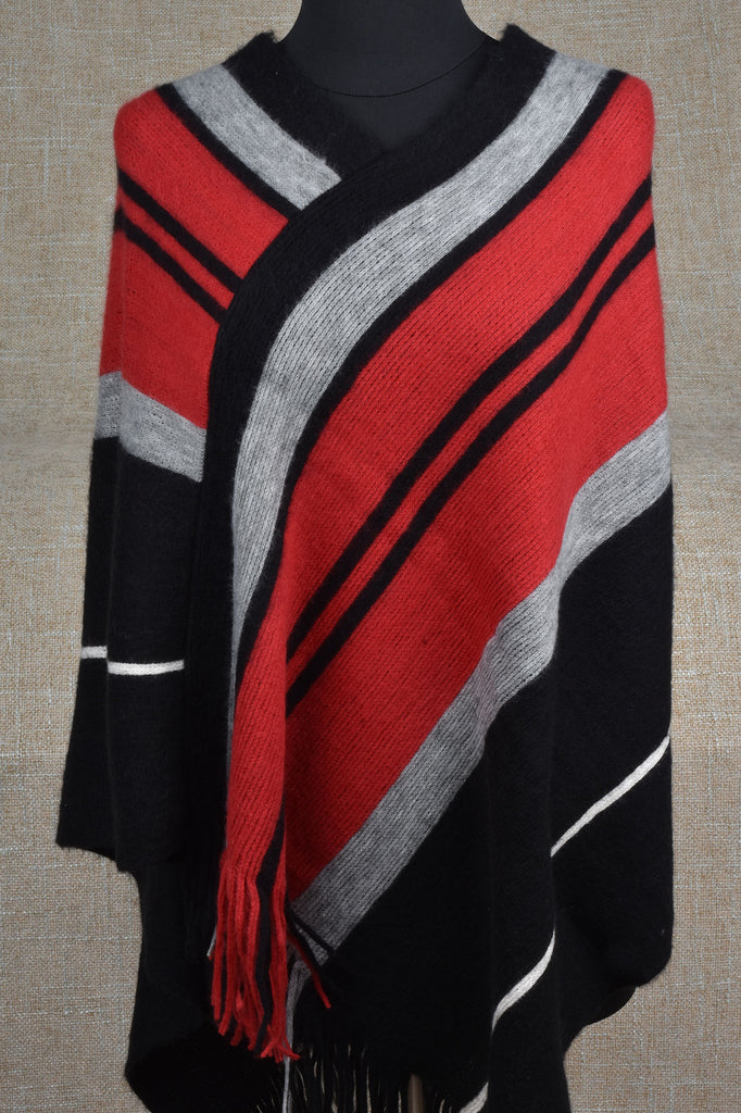 Black, Red, and Grey Status Poncho