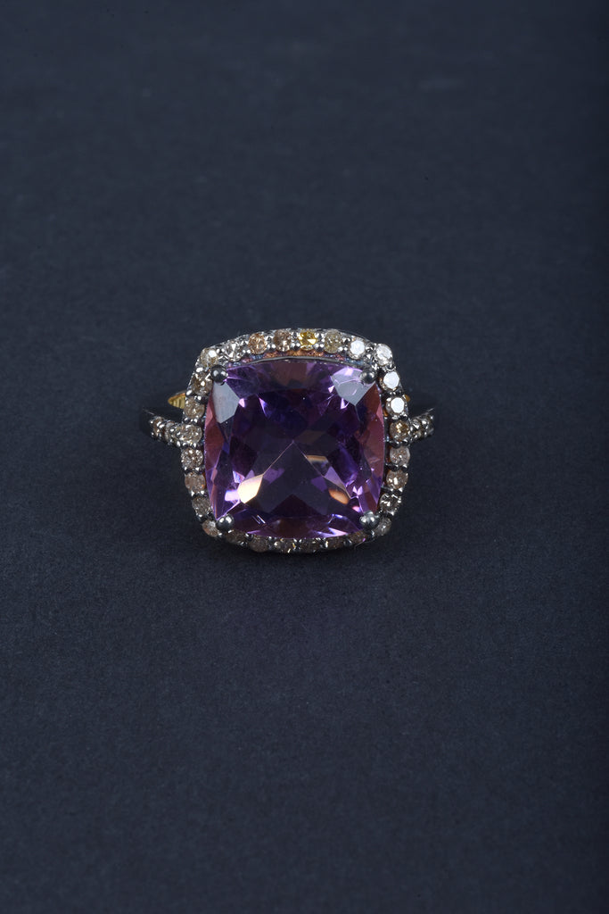 Cushion Shape Canela Amethyst and Diamond Ring