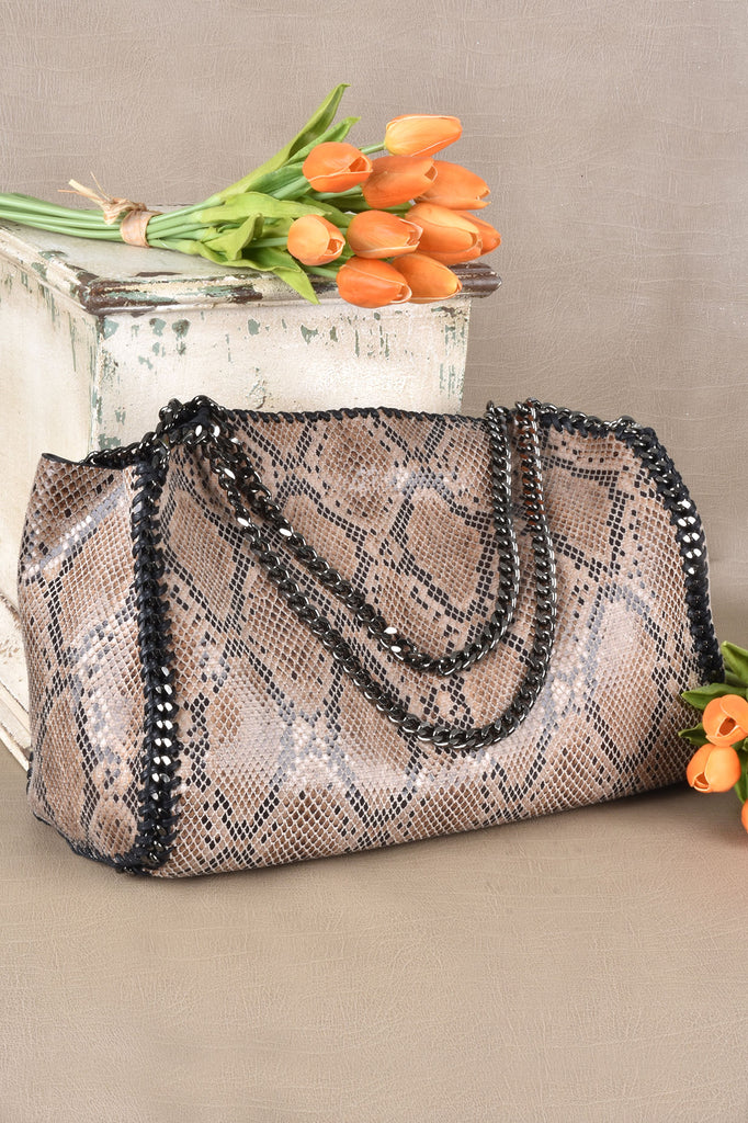 Caramel Python Bag with Chain Handles