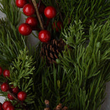Lush Evergreen, Red Berry, and Pinecone Wreath