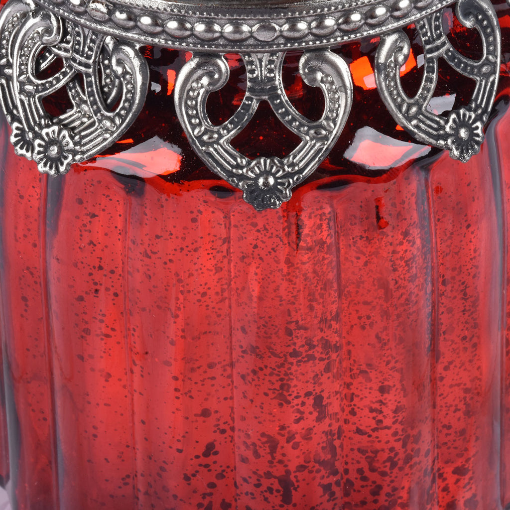 Set of 3 Red Mercury Glass Jars