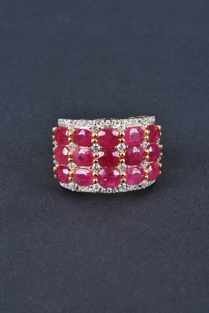 Mozambique Ruby and White Zircon Ring