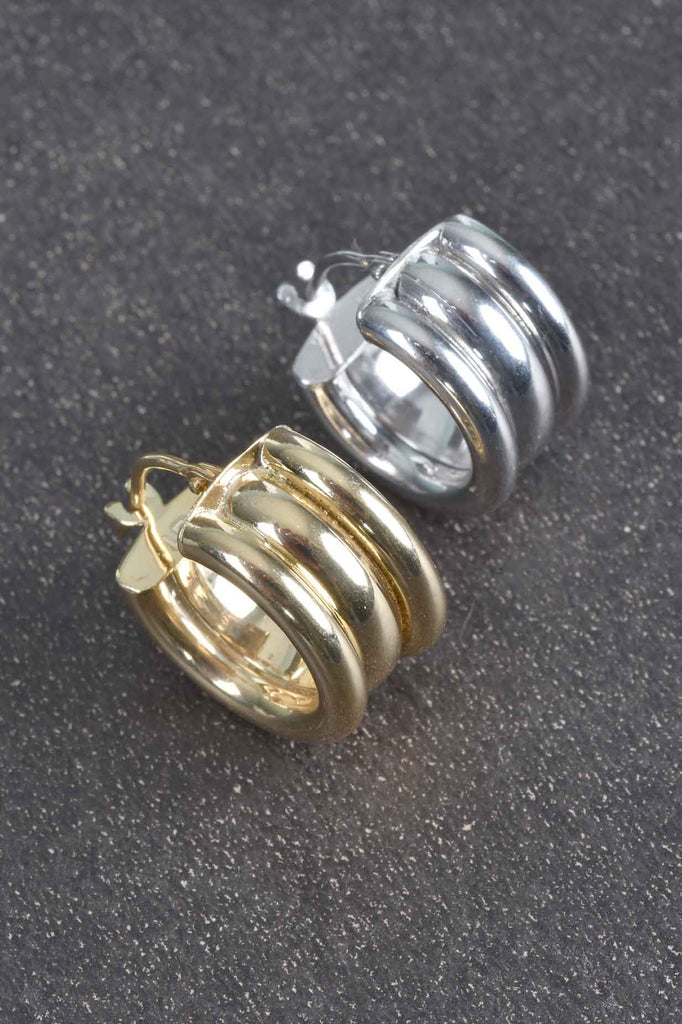 Italian Triple Ribbed Huggie Hoop Earrings