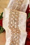 Jeweled Champagne Luxury Wired Ribbon