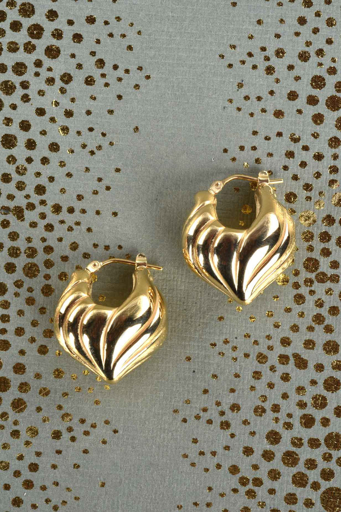 Italian Swirled Flame Huggie Hoop Earrings