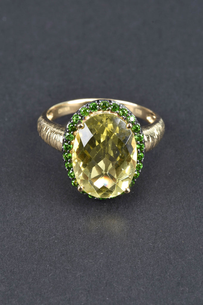 Oval Lemon Quartz and Chrome Diopside Ring