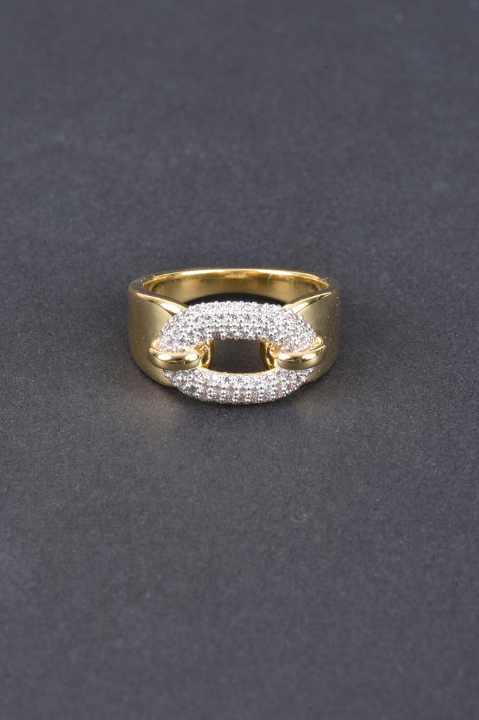 Italian Pave Buckle Status Ring