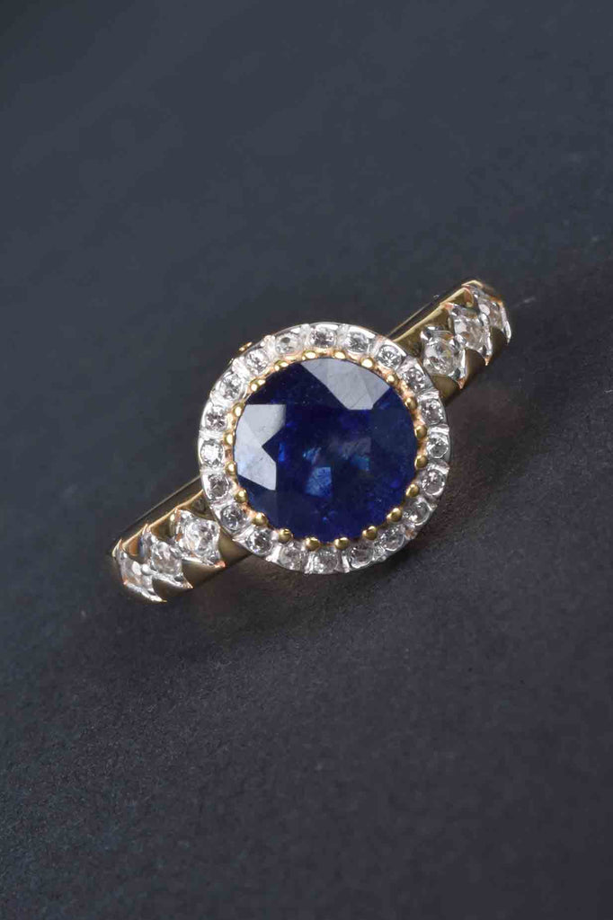 Blue Sapphire and White Zircon Ring