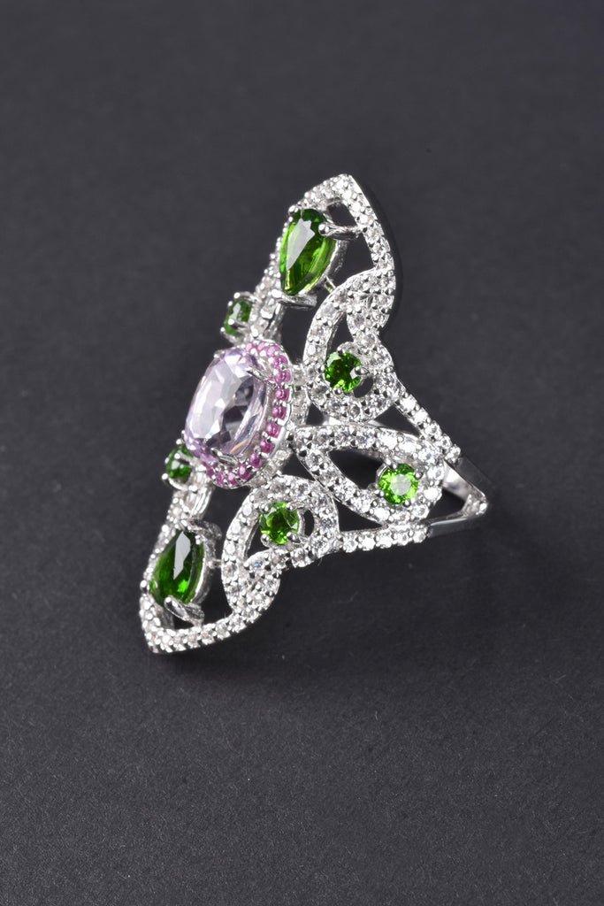 Elongated Kunzite, Chrome Diopside and Sapphire Ring