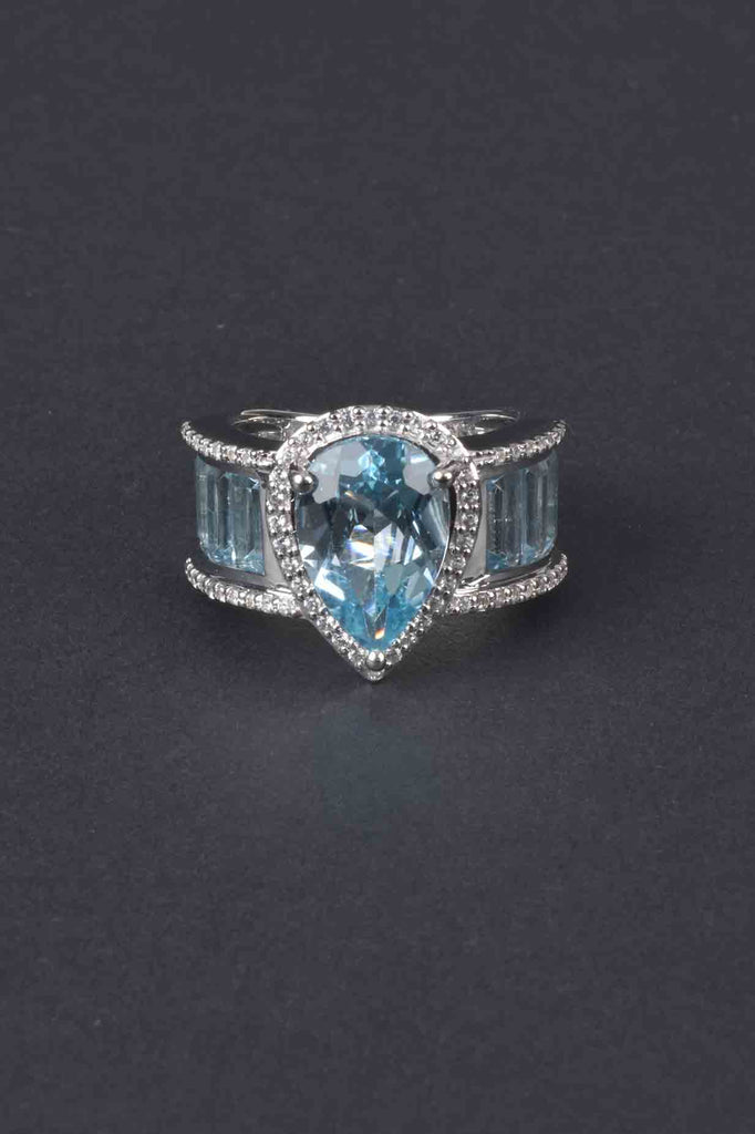 Swiss Blue Topaz Pear Cut and Baguette Band Ring