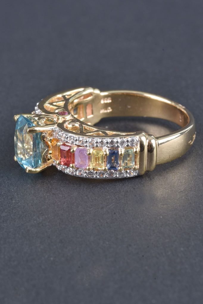 Blue Zircon and Multi-Sapphire Band Ring