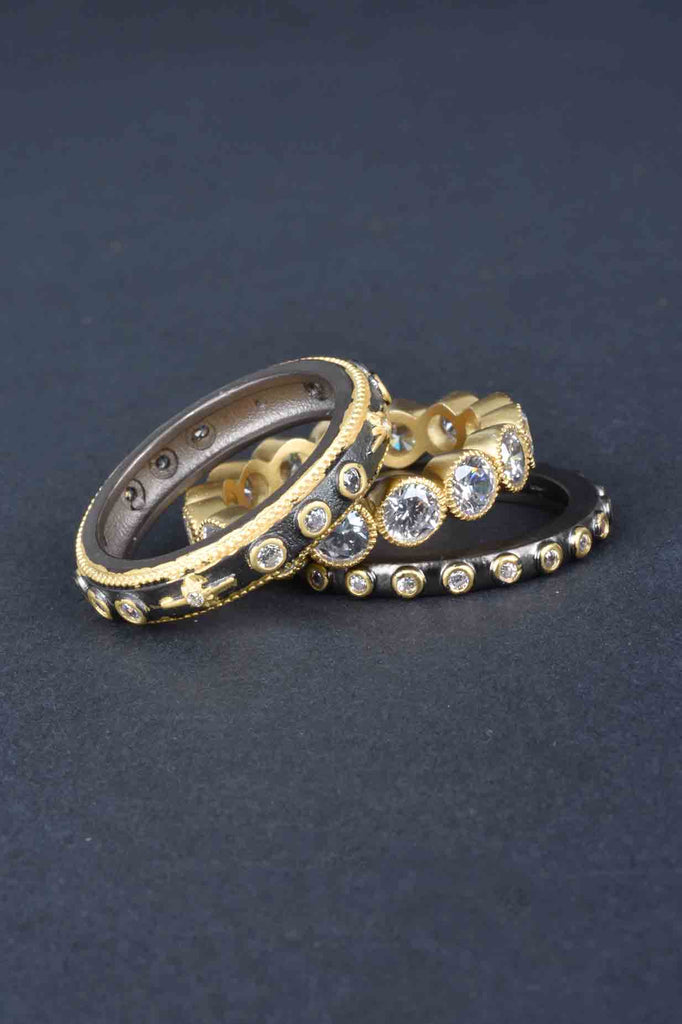 Set of 3 Couture Inspired Mixed Stack Rings