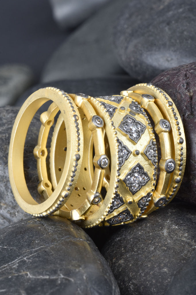 Set of 5 Couture Inspired Mixed Stack Rings