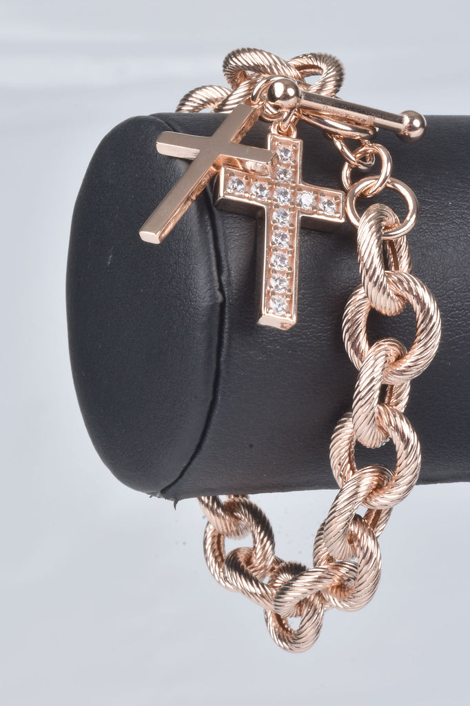 Italian Luxury Rolo Bracelet with Cross Charms