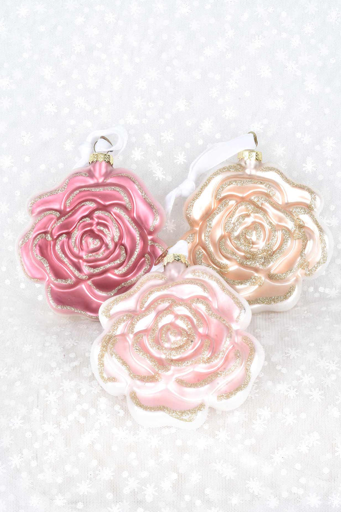 Rose Blooms Glass Ornaments