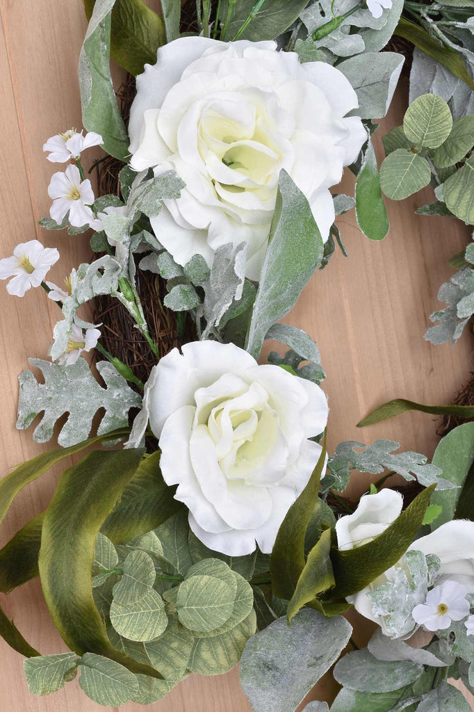 White Rose and Eucalyptus Wreath on Grapevine Base