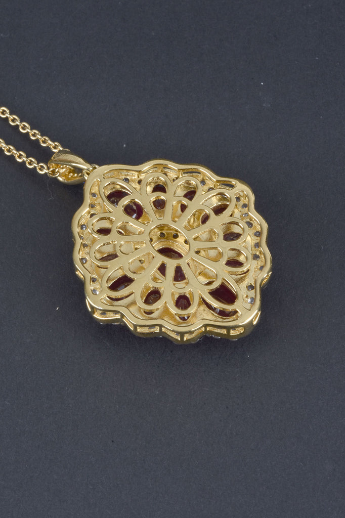 Ruby and White Zircon Diamond Shape Pendant