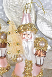 Beaded Pink Santa Ornaments