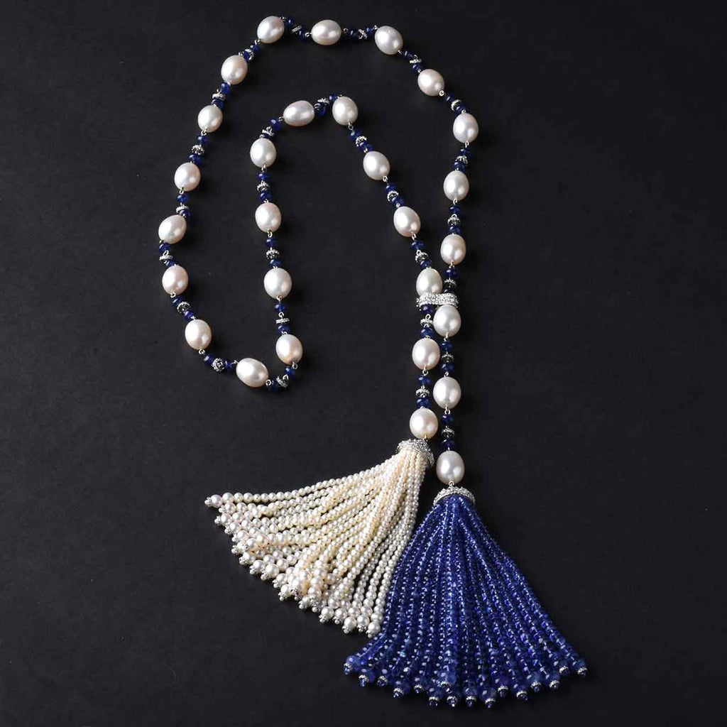 222ct Tanzanite, Blue Sapphire, Pearl, and Diamond Tassel Necklace, 18K