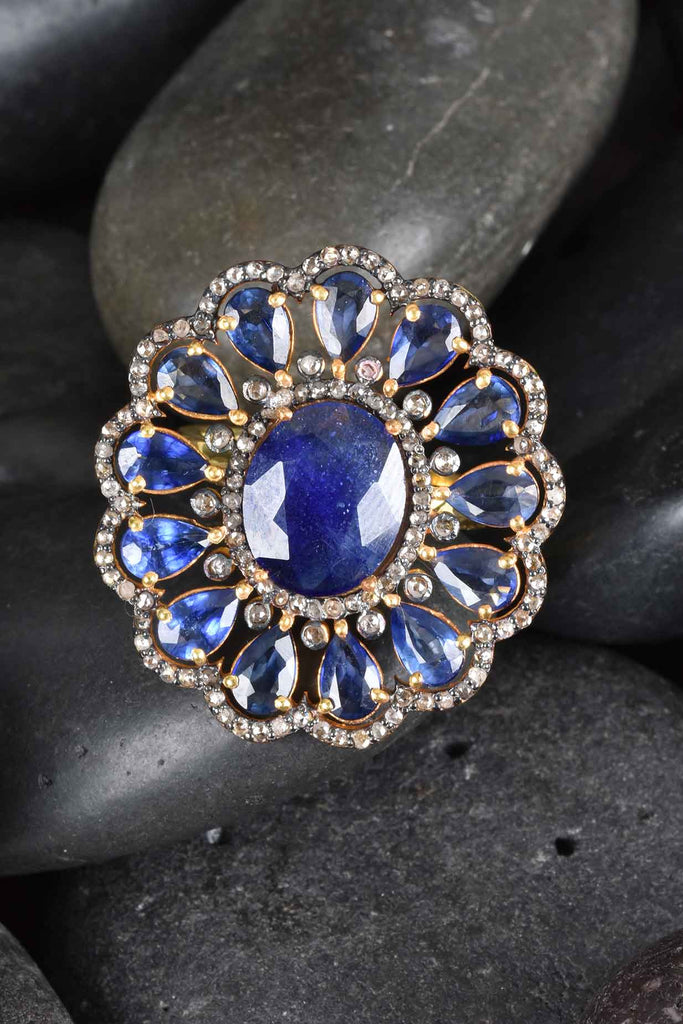 Blue Sapphire and Diamond Oval Ring