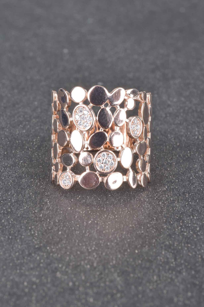 Scattered Pave Pebble Band Ring