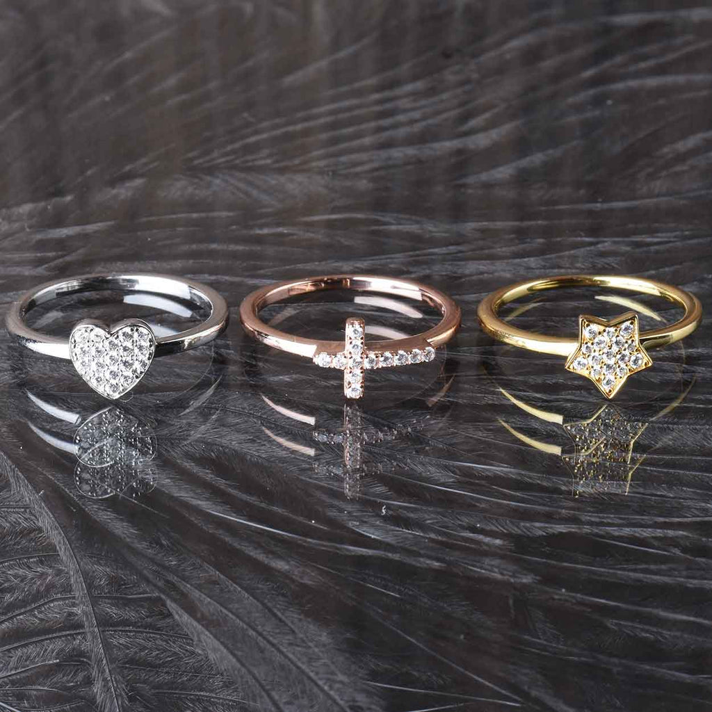 Italian Hope, Faith and Love Stack Rings