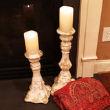 Set of 2 Antiqued Candlesticks