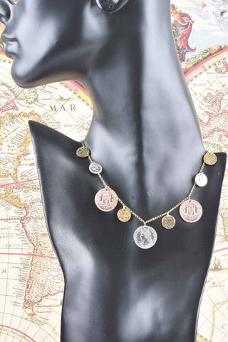 Italian Religious Medallion Charm Necklace