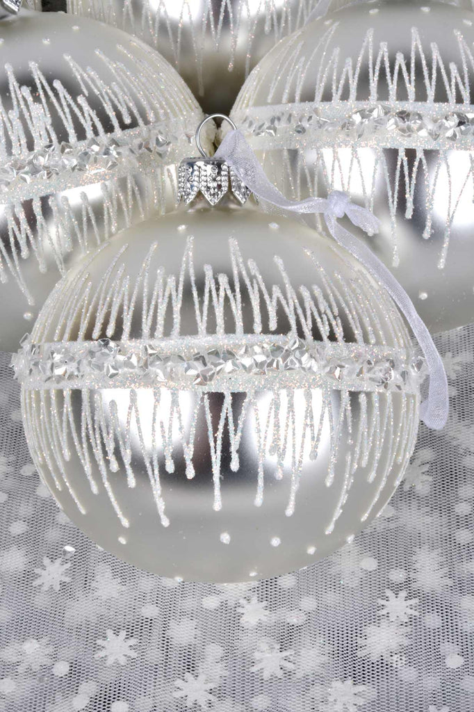 Jeweled Band Silver European Glass Ornaments